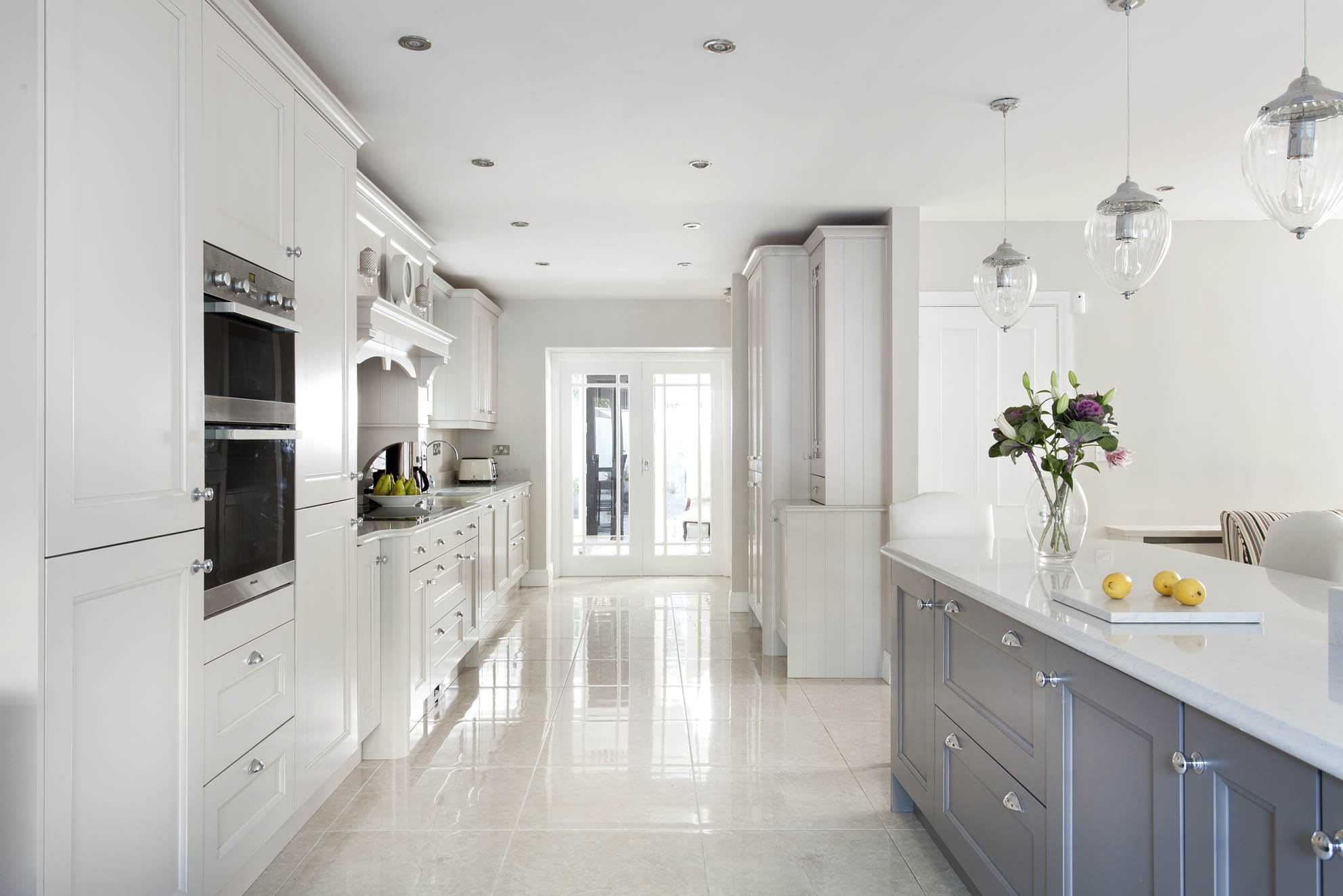 Irish Kitchen Designs Part - 44: Contemporary Satin Finish Bespoke Kitchen Painted In Platimum (dark) And  Ivory (light)
