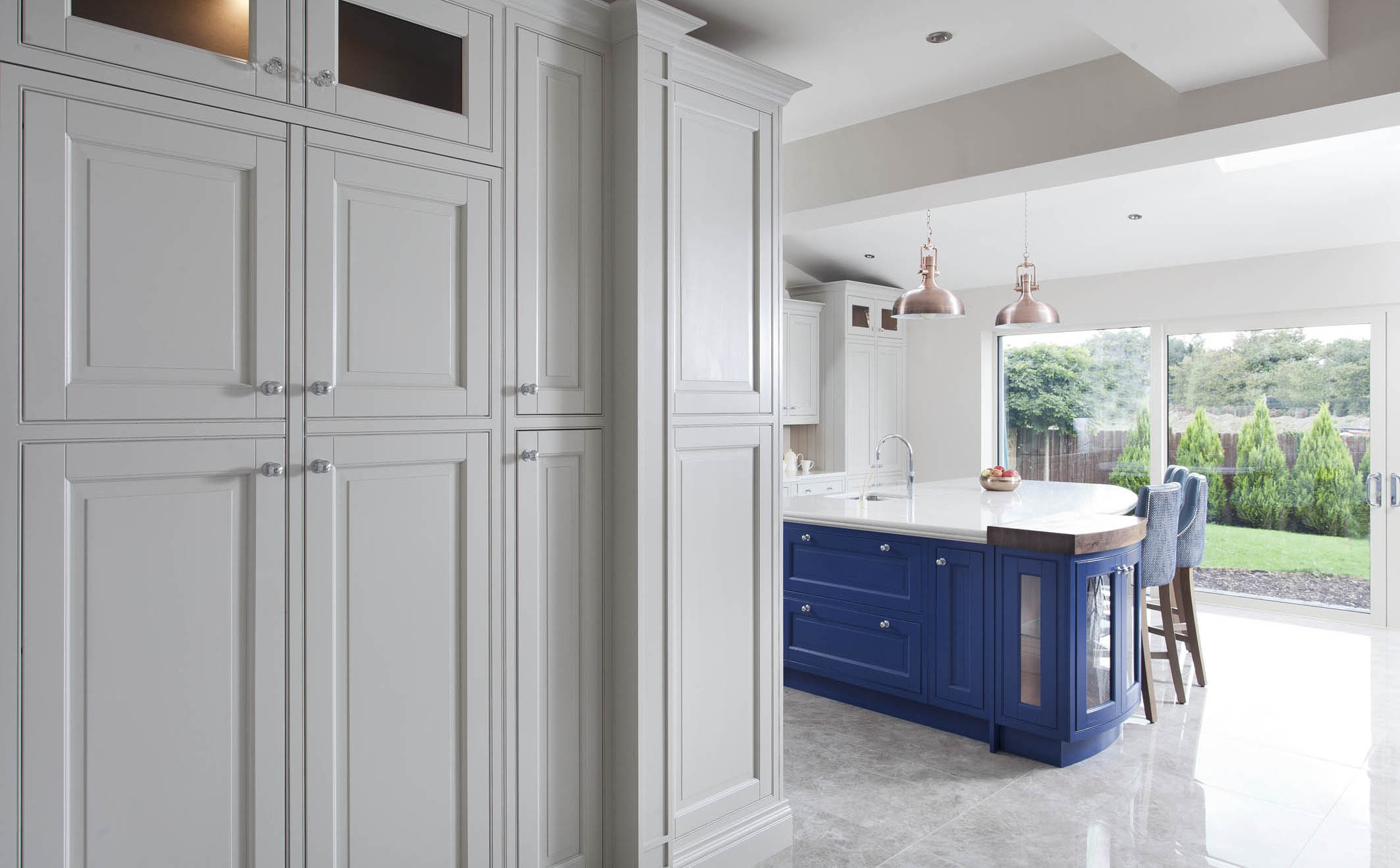Drawing Room blue and Purbeck Stone Kitchen