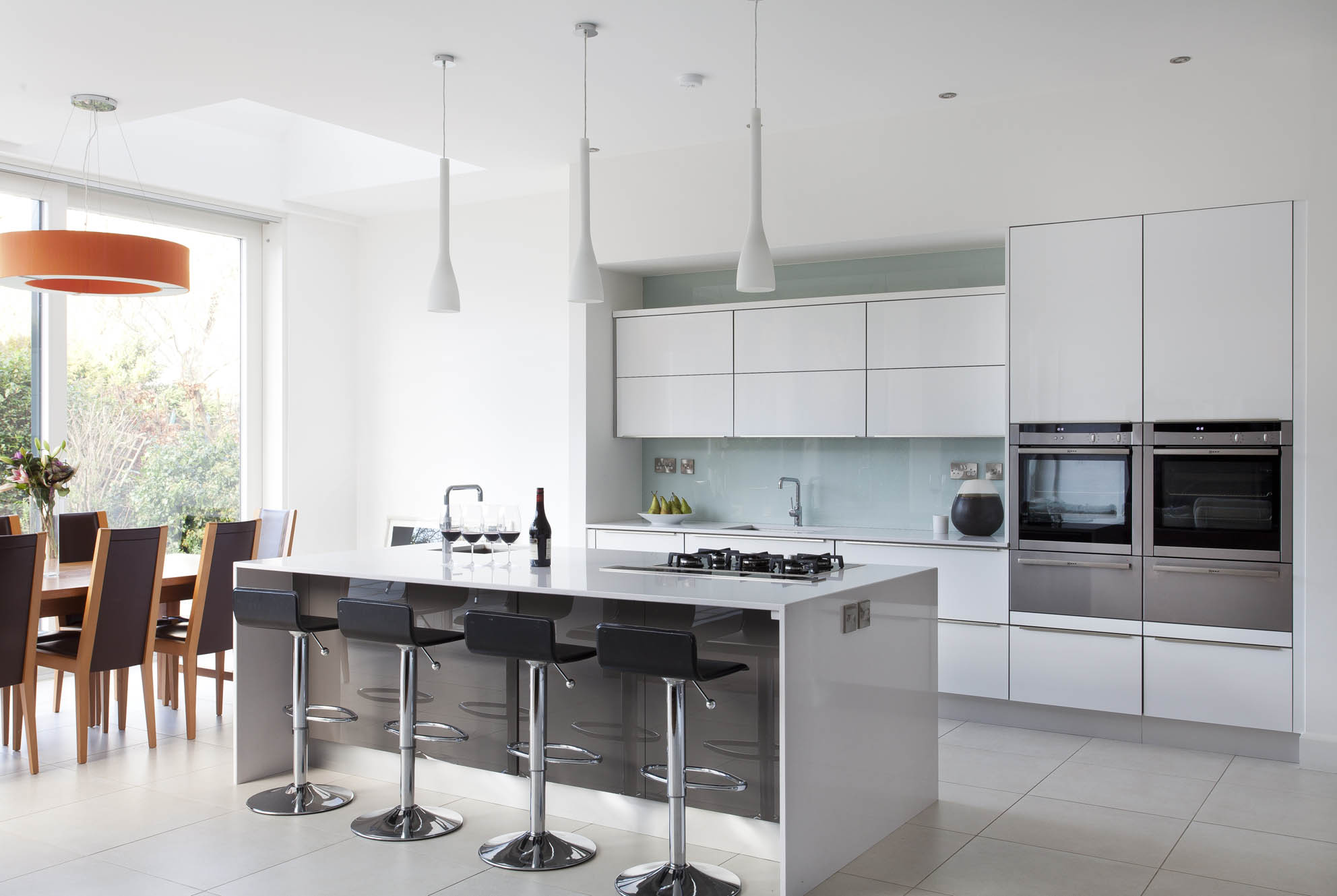 Gloss White And Grey Contemporary Kitchen By Dillons Kitchens Interiors